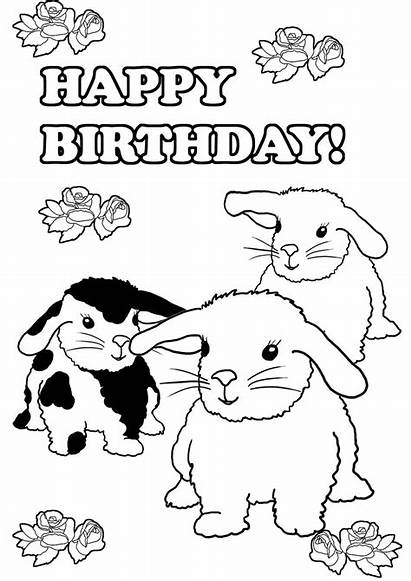 Coloring Pages Bunny Birthday Printable Rabbit Three