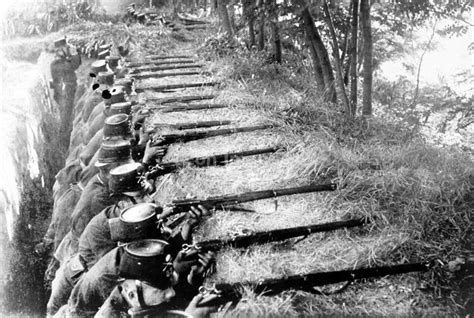 Troops Lined Up In Trench During The War In Switzerland