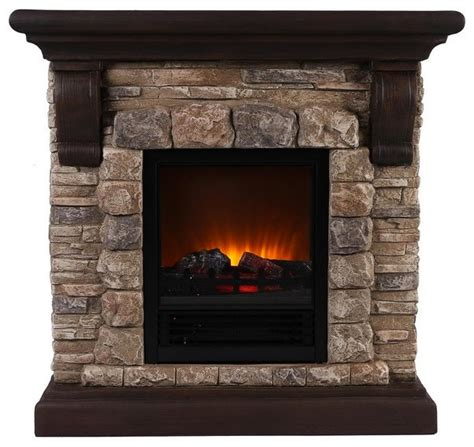 Faux Stone Portable Fireplace, Large Traditional