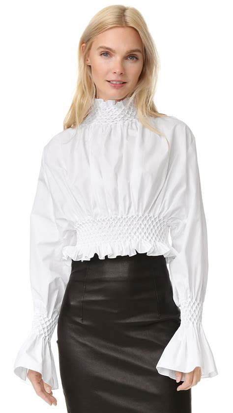 high neck blouse lyst kenzo poplin high neck ruffle blouse in white