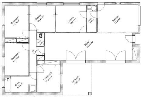 plan de maison avec 4 chambres plan de maison chambre salon