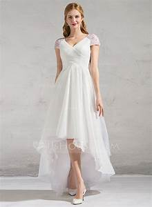 a line princess v neck asymmetrical tulle wedding dress With asymmetrical wedding dresses