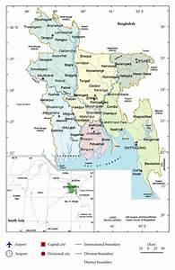 Map Of Bangladesh And Its Six Administrative Divisions