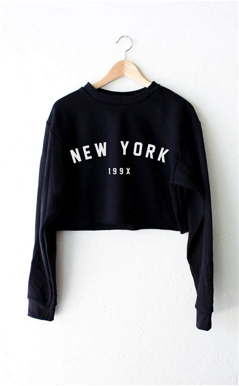 new yorker tops new york 199x oversized cropped sweater black nyct