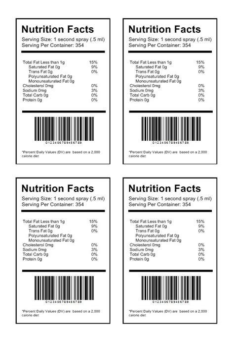 Food Label Template Word