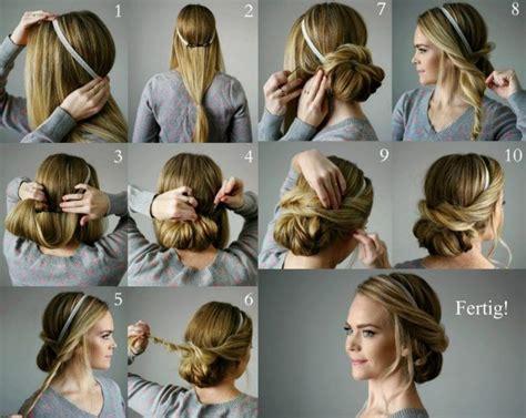lockere hochsteckfrisuren lange haare haarband anleitung
