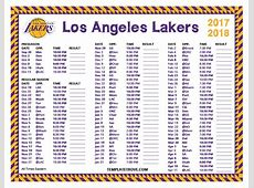Printable 20172018 Los Angeles Lakers Schedule