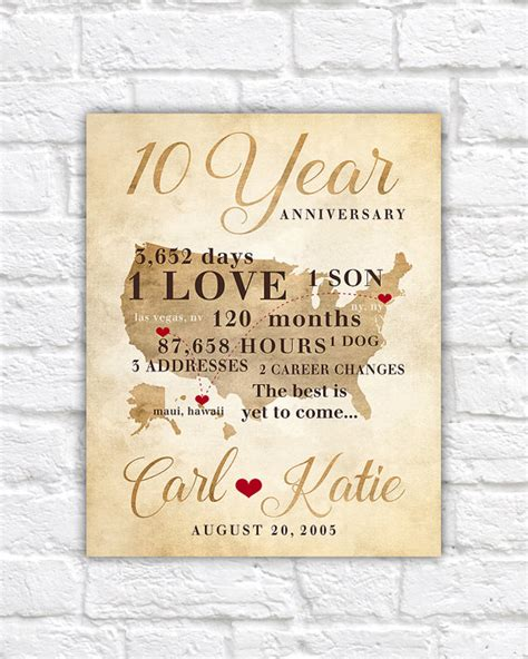 10 year anniversary gift 10 year anniversary gift gift for men women his hers 10th