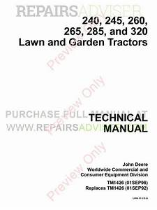 John Deere 240  245  260  265  285 And 320 Lawn And Garden