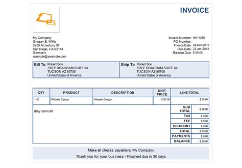 Sample Service Invoice Template Costumepartyrun