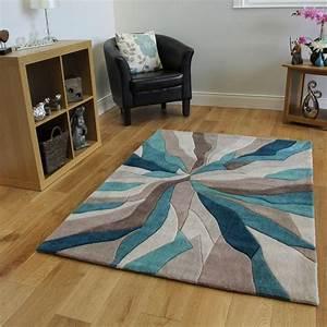tapis contemporain bleu turquoise et taupe motif vagues With tapis rouge avec canapé contemporain haut de gamme