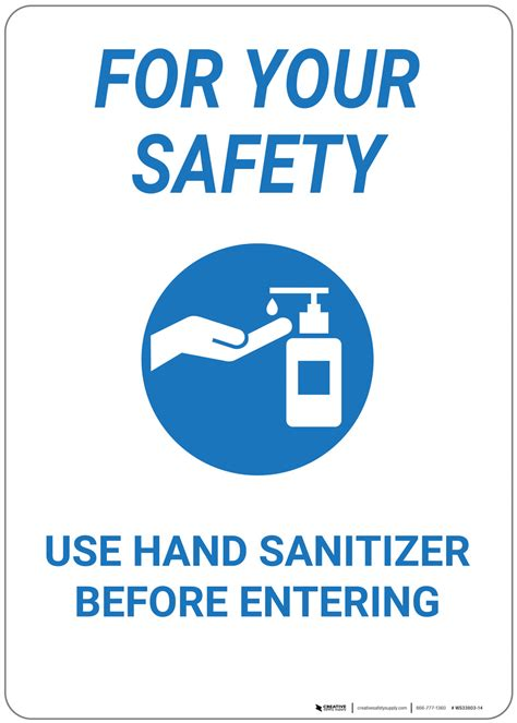 For Your Safety: Use Hand Sanitizer Before Entering - Wall