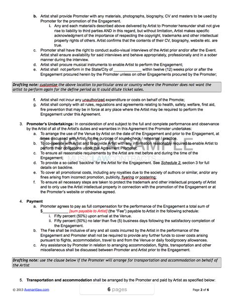 promoter artist contract template