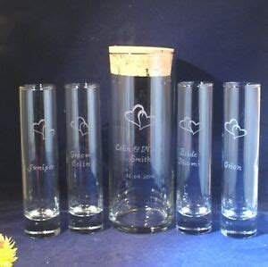 Unity Sand Vases With Lids by 5 Pc Wedding Unity Sand Ceremony Set Engraved 9 X 3 Vase