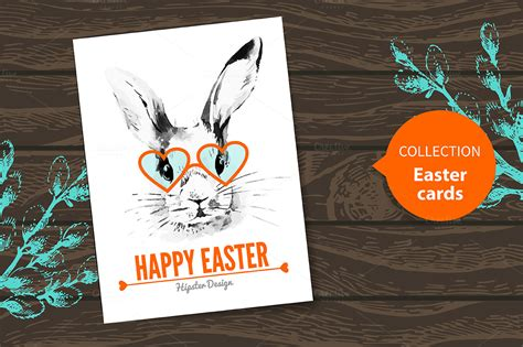 easter card hipster design card templates  creative market