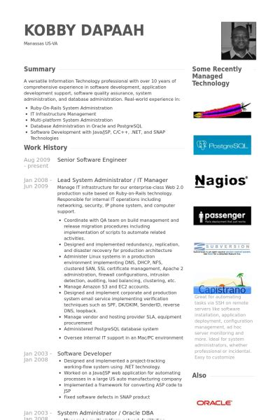 Creative Resumes For Software Engineers by Senior Software Engineer Resume Sles Visualcv Resume