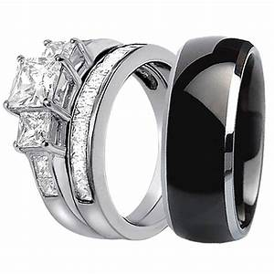 15 best collection of black titanium wedding bands sets With titanium wedding rings sets