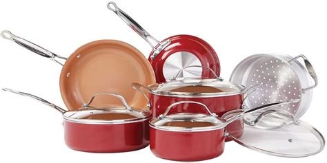 bulbhead  red copper  pc copper infused ceramic  stick cookware set  buy