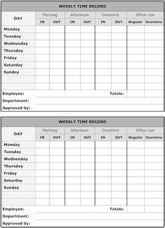 printable timesheet templates  weekly employee