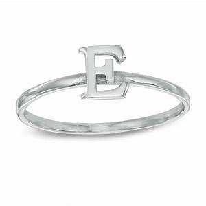stackable letter quotequot ring in 10k white gold size 7 With letter e ring
