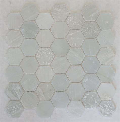 white glass recycled hexagon mosaic tile rocky