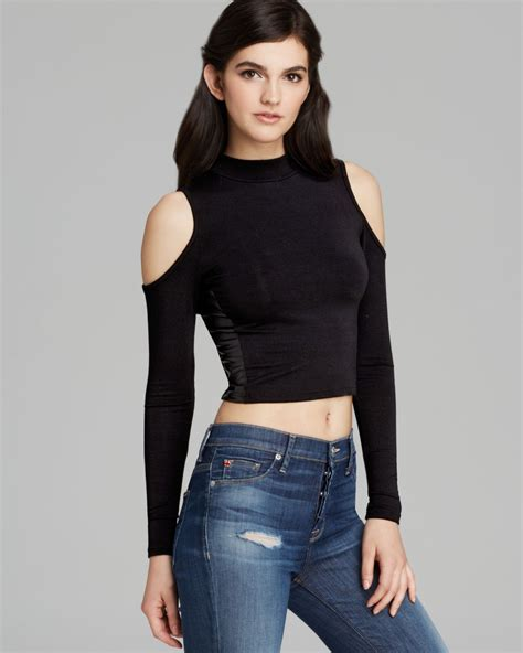 sleeve cutout top guess top cold shoulder crop in black lyst