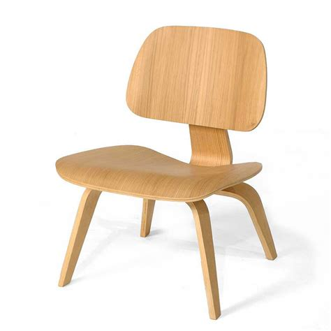 Ash Wood  Eames Style Molded Plywood Lounge Chair Mid