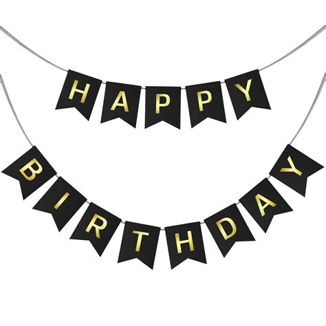 happy birthday swallowtail bunting banner for party decoration black background gold foiled
