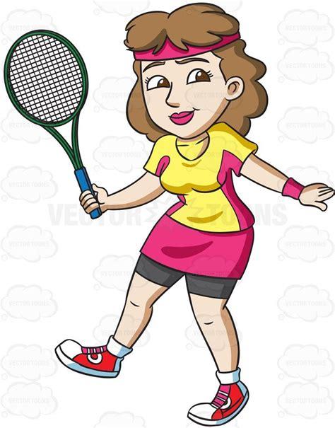 female tennis player practices  swing cartoon clipart vector vectortoons stockimage