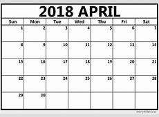 April 2018 Calendar Print Out
