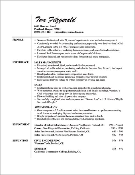 Sle Of A Resume Format by Professional Resume Templates Search Resume