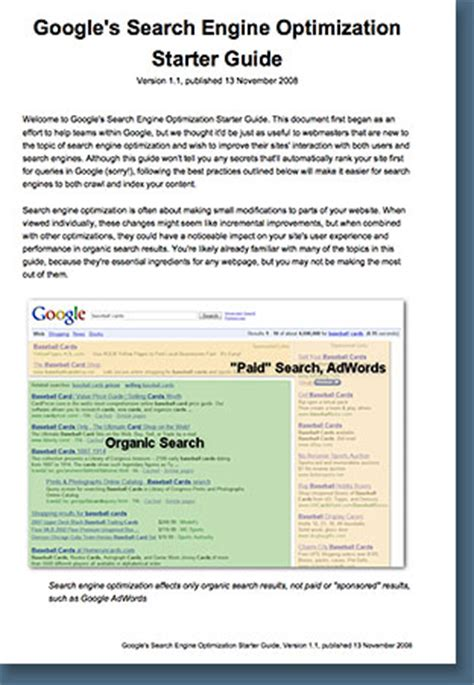 Search Engine Optimization Guide by Free Search Engine Optimization Starter Guide Seo