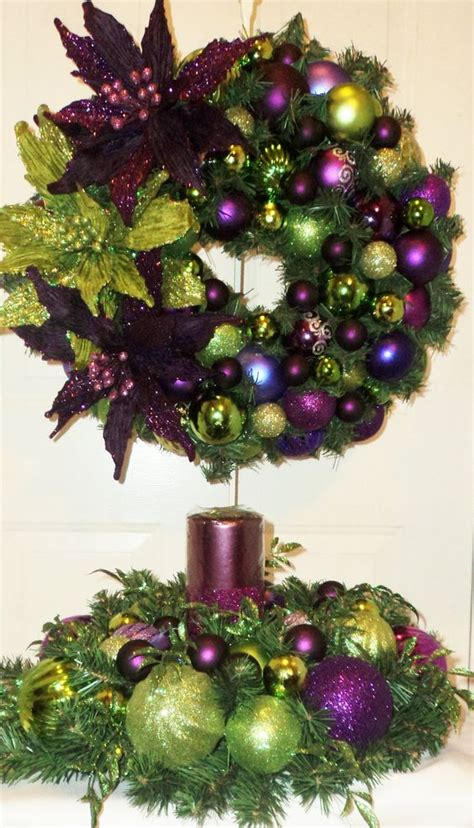 purple lime green christmas table centerpiece purple