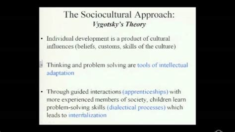 sociocultural approach vygotskys theory youtube