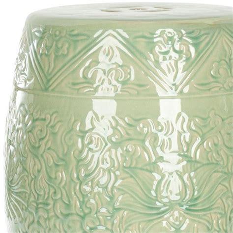 safavieh ceramic garden stool in lime green acs4502a