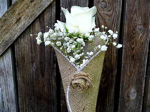 Burlap Flower Cone Church Pew Decoration Wedding Flower