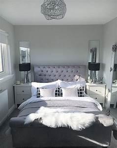 Master, Bedroom, Inspo, Bedroom, Goals, Black, And, White, Silver, Sheepskin, Rug, Mirrored, Bedside, Black