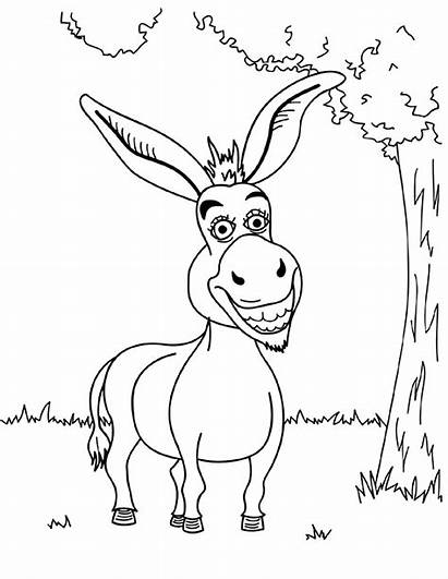 Donkey Coloring Pages Shrek Funny Printable Cartoon