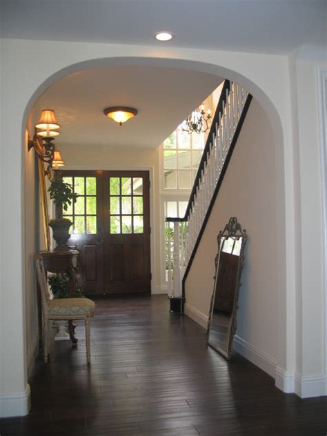 entry  french doorsespresso hardwood floors