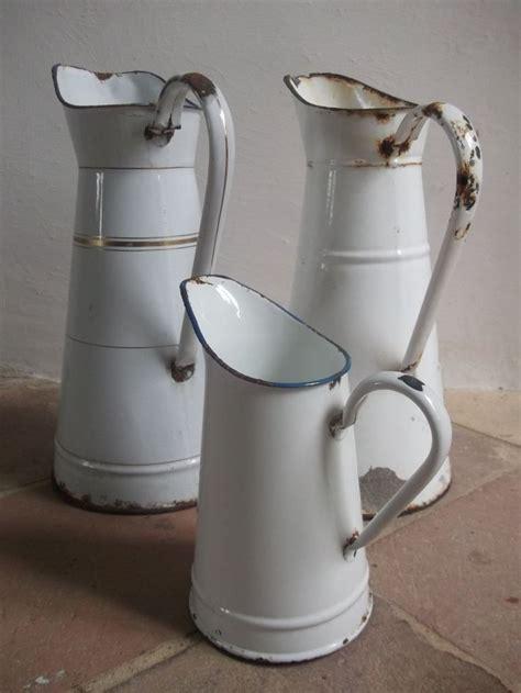 french vintage enamel pitcher chippy whites pinterest
