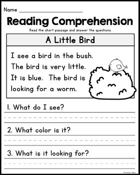 free kindergarten reading comprehension passages set 2