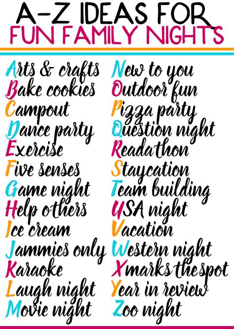 fun family activities family night ideas   ages