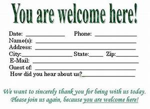 Visitor card template you can customize church for Church welcome card template