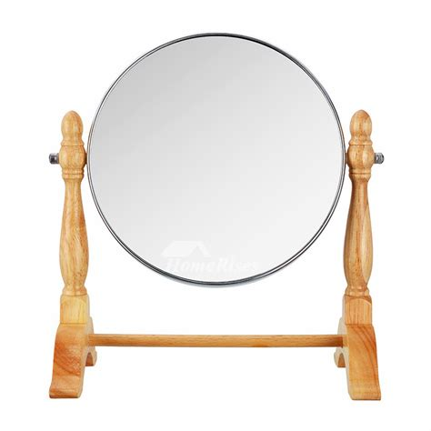 stand  makeup mirror wood squareround double sided