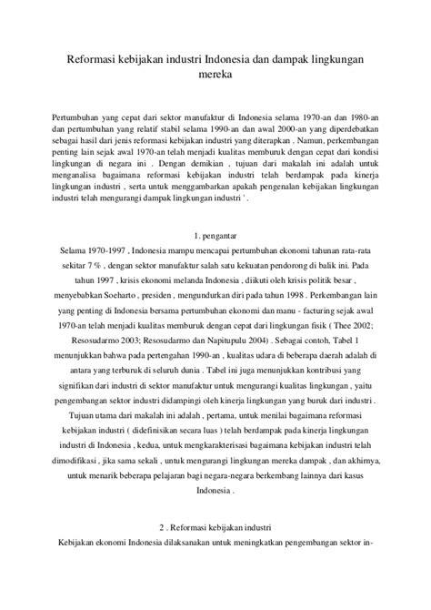 Reformasi kebijakan industri Indonesia dan dampak