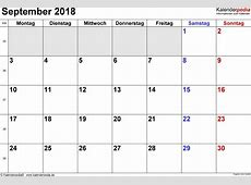 September 2018 Kalender Zum Ausdrucken