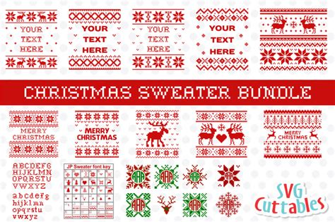 Christmas, christmas card, christmas decoration, christmas ornament, december, festive, holiday, knit, merry, pattern, seamless, season, sweater, texture, weave, winter, wool, xmas, red, blue, green, merry christmas sweater patterns, christmas pattern, christmas sweater, merry christmas. Free Christmas Sweater Bundle Crafter File - DIY SVG Cut Files