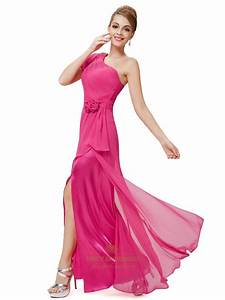 Hot Pink Chiffon One Shoulder Bridesmaid Dresses With ...