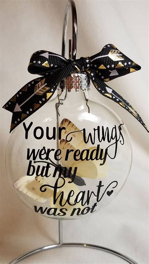 baby loss and christmas miscarriage ornament your wings were ready infant loss gift baby memorial butterfly