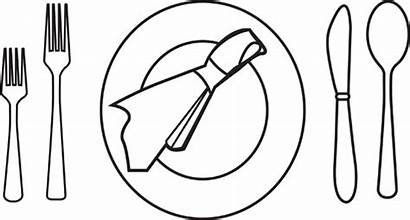 Setting Dinner Place Plate Clipart Clip Outliine